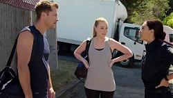 Mark Brennan, Monique Hughes, Mishti Sharma in Neighbours Episode 7830