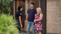 Mishti Sharma, Mark Brennan, Sheila Canning in Neighbours Episode 7830