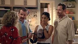 Jane Harris, Toadie Rebecchi, Yashvi Rebecchi, Shane Rebecchi in Neighbours Episode 7832