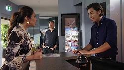 Dipi Rebecchi, Shane Rebecchi, Leo Tanaka in Neighbours Episode 7836