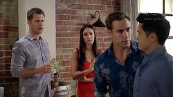 Mark Brennan, Mishti Sharma, Aaron Brennan, David Tanaka in Neighbours Episode 7848