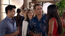 David Tanaka, Fay Brennan, Aaron Brennan, Mishti Sharma in Neighbours Episode 7849