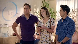 Aaron Brennan, Amy Williams, David Tanaka in Neighbours Episode 7851