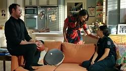 Shane Rebecchi, Dipi Rebecchi, Mishti Sharma in Neighbours Episode 7859