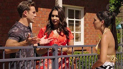 Aaron Brennan, Dipi Rebecchi, Mishti Sharma in Neighbours Episode 7860