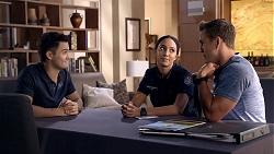 David Tanaka, Mishti Sharma, Aaron Brennan in Neighbours Episode 7864