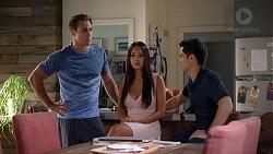 Aaron Brennan, Mishti Sharma, David Tanaka in Neighbours Episode 7864