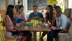 Mishti Sharma, Dipi Rebecchi, Aaron Brennan, Elly Conway, Amy Williams in Neighbours Episode 7865