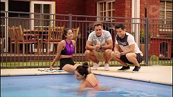 Yashvi Rebecchi, Mishti Sharma, Aaron Brennan, David Tanaka in Neighbours Episode 7868