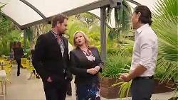 Shane Rebecchi, Sheila Canning, Leo Tanaka in Neighbours Episode 7869