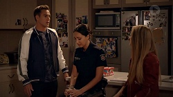 Aaron Brennan, Mishti Sharma, Chloe Brennan in Neighbours Episode 7876