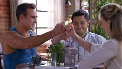 Aaron Brennan, David Tanaka, Chloe Brennan in Neighbours Episode 7889