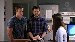 Aaron Brennan, David Tanaka, Mishti Sharma in Neighbours Episode 7890