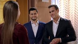 Chloe Brennan, David Tanaka, Aaron Brennan in Neighbours Episode 7902
