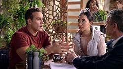 Aaron Brennan, Mishti Sharma, Paul Robinson in Neighbours Episode 7905