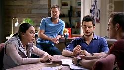 Mishti Sharma, Mark Brennan, David Tanaka, Aaron Brennan in Neighbours Episode 7906
