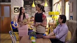 Mishti Sharma, Dipi Rebecchi, Leo Tanaka in Neighbours Episode 7914