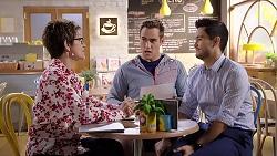 Susan Kennedy, Aaron Brennan, David Tanaka in Neighbours Episode 7915
