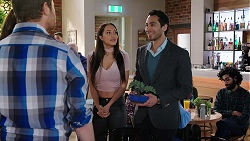 Shane Rebecchi, Mishti Sharma, Pavan Nahal in Neighbours Episode 7925