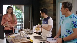 Chloe Brennan, David Tanaka, Aaron Brennan in Neighbours Episode 7930