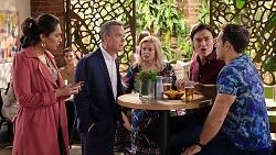 Dipi Rebecchi, Paul Robinson, Sheila Canning, Leo Tanaka, Aaron Brennan in Neighbours Episode 7932