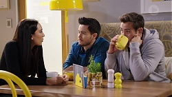 Mishti Sharma, David Tanaka, Aaron Brennan in Neighbours Episode 7934