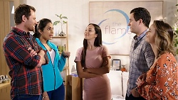 Shane Rebecchi, Dipi Rebecchi, Mishti Sharma, Dr Rob Carson, Amy Williams in Neighbours Episode 7936