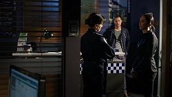 Snr. Sgt. Christina Lake, Mark Brennan, Mishti Sharma in Neighbours Episode 7940