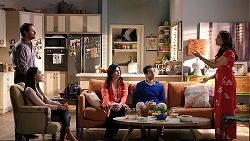 Shane Rebecchi, Mishti Sharma, Meena Nahal, Pavan Nahal, Dipi Rebecchi in Neighbours Episode 7941