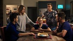David Tanaka, Piper Willis, Chloe Brennan, Aaron Brennan, Mark Brennan in Neighbours Episode 7947