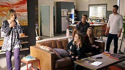 Sonya Mitchell, Piper Willis, Aaron Brennan, Chloe Brennan, Mark Brennan in Neighbours Episode 7947