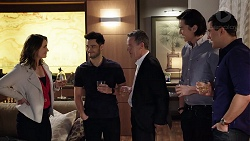 Amy Williams, David Tanaka, Paul Robinson, Leo Tanaka, Dr Rob Carson in Neighbours Episode 7949