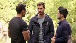 Aaron Brennan, Mark Brennan, David Tanaka in Neighbours Episode 7984