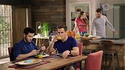 David Tanaka, Aaron Brennan, Chloe Brennan, Mark Brennan in Neighbours Episode 7987