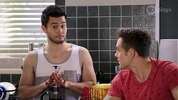 David Tanaka, Aaron Brennan in Neighbours Episode 7999