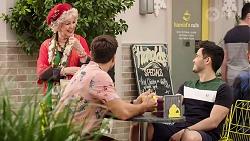 Valerie Grundy, Aaron Brennan, David Tanaka in Neighbours Episode 8000