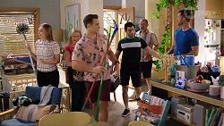 Piper Willis, Sheila Canning, Aaron Brennan, David Tanaka, Toadie Rebecchi, Mark Brennan in Neighbours Episode 8000