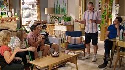 Sheila Canning, Piper Willis, Aaron Brennan, David Tanaka, Toadie Rebecchi, Mark Brennan in Neighbours Episode 8000