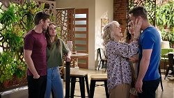 Ned Willis, Bea Nilsson, Liz Conway, Elly Conway, Mark Brennan in Neighbours Episode 8001