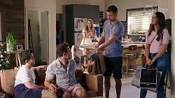 David Tanaka, Aaron Brennan, Chloe Brennan, Mark Brennan, Elly Conway in Neighbours Episode 8005