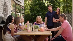 Yashvi Rebecchi, Xanthe Canning, Sheila Canning, Ned Willis, Bea Nilsson, Gary Canning in Neighbours Episode 8012