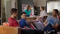 Aaron Brennan, David Tanaka, Fay Brennan, Chloe Brennan, Mark Brennan in Neighbours Episode 8013