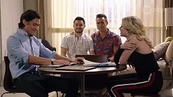 Leo Tanaka, David Tanaka, Aaron Brennan, Delaney Renshaw in Neighbours Episode 8014