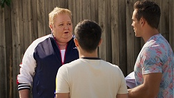 Vera Punt, David Tanaka, Aaron Brennan in Neighbours Episode 8023