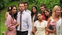 Dipi Rebecchi, Shane Rebecchi, Leo Tanaka, Yashvi Rebecchi, Kirsha Rebecchi, Ned Willis, Bea Nilsson in Neighbours Episode 8056