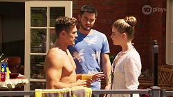Aaron Brennan, David Tanaka, Chloe Brennan in Neighbours Episode 8069