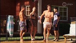 Aaron Brennan, Chloe Brennan, Kyle Canning, David Tanaka in Neighbours Episode 8076
