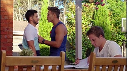 David Tanaka, Aaron Brennan, Kyle Canning in Neighbours Episode 8089