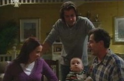 Libby Kennedy, Drew Kirk, Ben Kirk, Ron Kirk in Neighbours Episode 4085