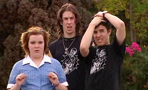 Bree Timmins, Dylan Timmins, Stingray Timmins in Neighbours Episode 4796